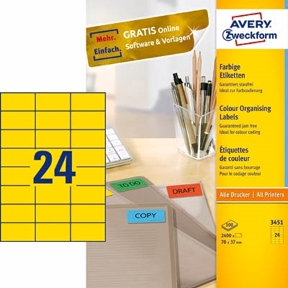 Picture of A4 Labels Yellow Color 70mm x 37mm 3 X 8